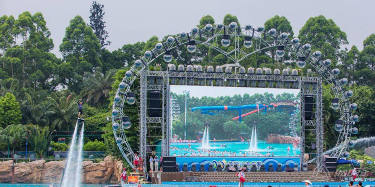 Shinestage Design Heart Lighting Truss Stage For Chimelong Water Park Stars Night