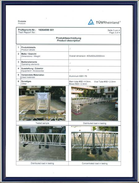 Truss TUV Certifiction -2